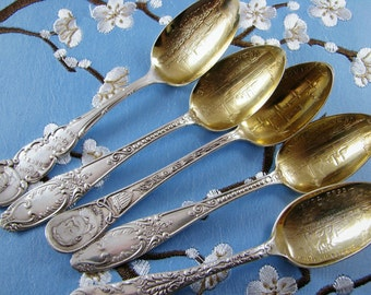 Antique Victorian SilverPlate Commemorative Naval Theme - Demi-Tasse Spoons (Set of 5)