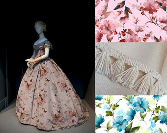 Custom Made Floral Victorian Ball Gown