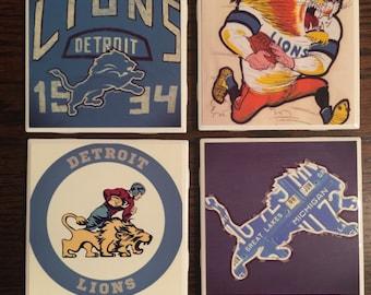 Set of 4 Detroit Lions Coasters