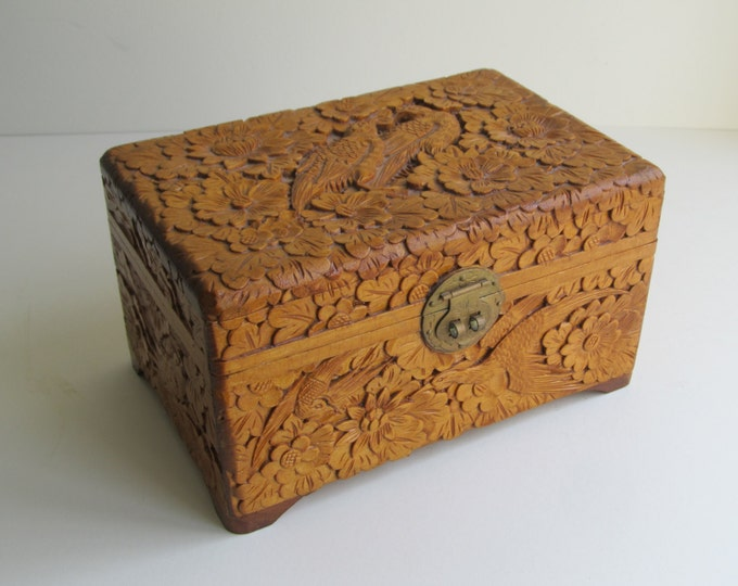 Vintage Chinese wooden jewelry trinket box, carved storage box, medicine cabinet, office desk tidy, card case, home decor