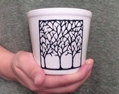 White Flower Pot - for Succulent - with Black Tree Outline Decal in outdoor strength vinyl
