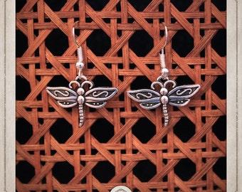 Dragonfly earrings silver BOA006
