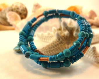 Turquoise and Spiral Beads with a Charm Wrap Bracelet- Fits most, Makes a great unique gift, self help, no clasp, simply wrap it around