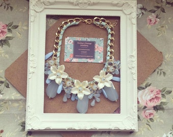 Large Floral Statement Necklace Pastal Blue