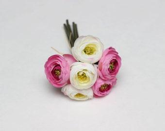 White pink bouquet ranunculus Bouquet of 6 flowers Artificial flowers Fake flowers   Ranunculus bouquet - item 3610