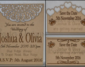 Wedding Party Celebration Save the Date, Invitation MDF and Bamboo Bundle of 50