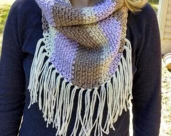 Women's Crochet Triangle Fringed Cowl - Purple - Dark Purple - Cream - Brown