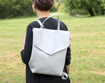 Vegan leather backpack - Grey minimal style backpack - Faux leather backpack