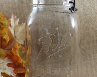 Vintage Ball Ideal Jar, Wire Closure, Clear Ball Jar, Vintage Ball Ideal Jar, Quart Ball Jar
