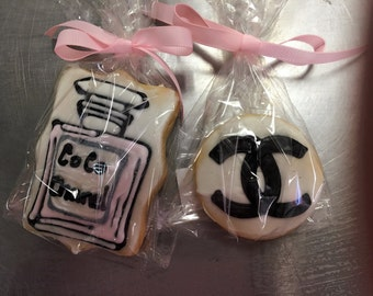 1 Dozen CoCo Chanel inspired favor sized cookies