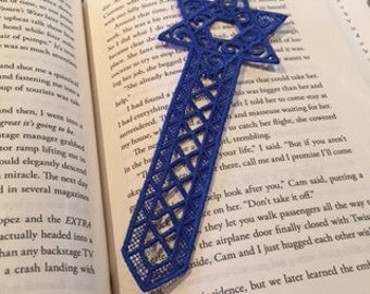 Free Standing Lace, Star of David Bookmark, Gift for Boys, Girls, Adults, Holiday Gift, Machine Embroidery