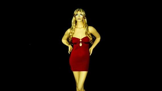 New Stripper Exotic Dancewear Hot Red Strapless lycra/spandex Short Dress