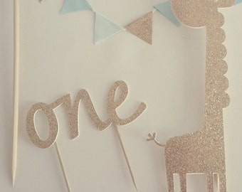 Light Blue and Gold Cake Bunting, Gold Giraffe Cake Topper,One in Gold, Birthday,Baby Shower.