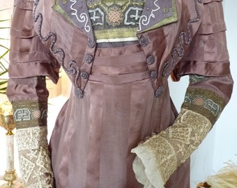Art Nouveau Brown Silk Dinner Gown, Antique Dress, Antique Gown, Edwardian Dress, ca. 1910