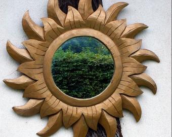Vintage wooden Sun mirror