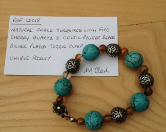 Item 12018. Bracelet with Celtic Pewter and Turquoise