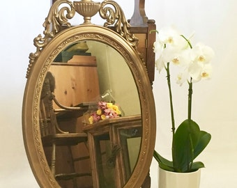 Unique Chic Vintage 1940's Carved Gold Framed Mirror