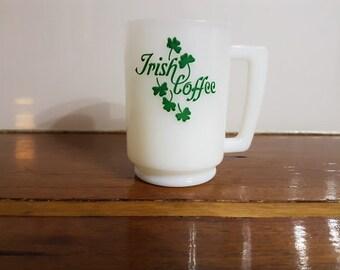 Milk Glass - Irish Coffee Mug / Cup with recipe