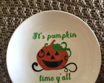 Halloween It's Pumpkin Time Y'all Stoneware Decorative Plate