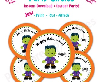 Halloween  Favor Tags -- Instant Download -  Printable  Halloween Party Favor Tags