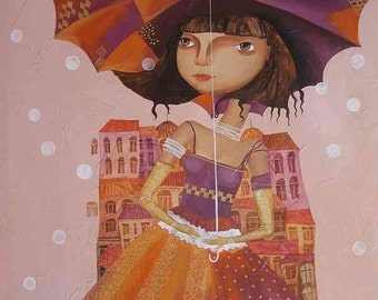 Umbrella girl - Canvas print stretched on a wooden frame ready to hang