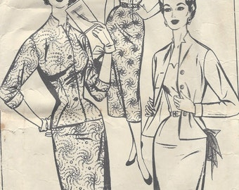 1950s Vintage Sewing Pattern B34 WIGGLE DRESS & JACKET (1047) Style 953
