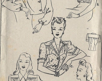 1940s WW2 Vintage Sewing Pattern B38 BLOUSE (1315) Style 4690