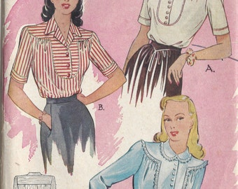 "1940s Vintage Sewing Pattern BLOUSE B34"" (R510)  Economy Design 186"