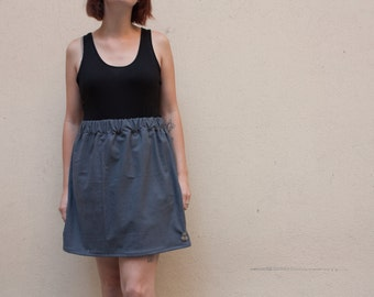 anthracite grey skater in cotton skirt thick woolen type