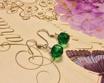 Gorgeous green Czech glass beaded earrings