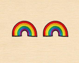 Set of 2 pcs Mini Rainbow Iron On Patches Sew On Appliques