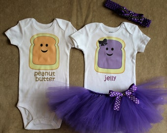 Peanut Butter and Jelly Twin Outfit Set-Boys, Boy/Girl, Girls-Coupon Code in description!