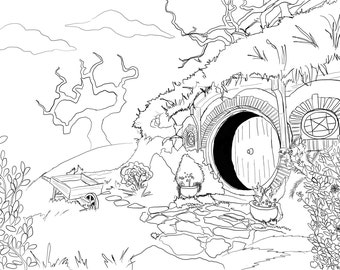 Adult Coloring Page - Hobbit House from Lord of the Rings
