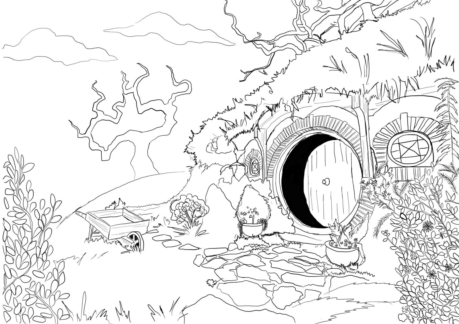 coloring page hobbit house from lord of the rings