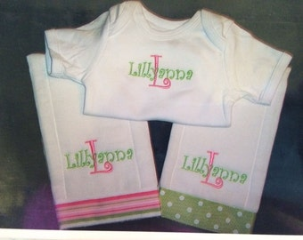 Personalized Pink/Green Baby Burp Cloth and Onesie Set Monogrammed baby girl