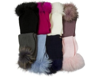 Child: Ribbed wool fur pom pom scarf *7 Colors*