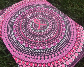 "Breast Cancer Ribbon Aboriginal Inspired Pointilism Dot Mandala Canvas Painting 9""x12"""