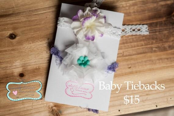Baby Girl Lace Shabby Chic Tieback Photography Prop, Newborn Girl Handmade Photography Props, Girl headbands