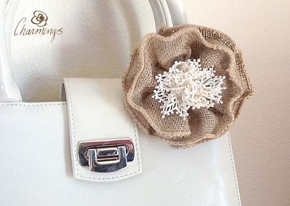 FLOWER - Burlap Beauty Textile Floral Brooch, Flower Pin, Jewelry, Fashion Accessory, Home Decor, Purse Bling, Lanyard Charm, Autumn Decor