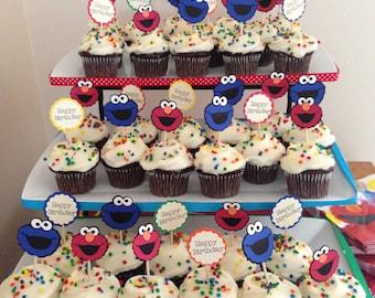 25 Sesame Street Cupcake Toppers