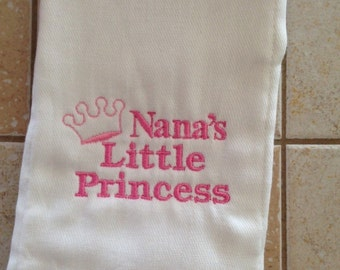 Nana's Little Princess embroidered burp cloth Personalized
