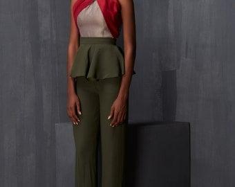 Detachable Peplum Pants with Mixed Textured Top