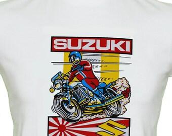 Suzuki Motor Bike T Shirt Genuine Vintage Retro 70's Transfer Mens White Cotton Size S-XXL