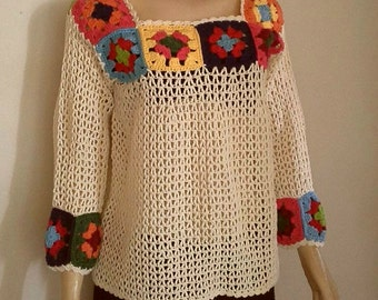 HANDMADE Squares Sweater/Over sized knit/Knitwear blouse/Long Pullover/Plus Size Sweater/Off shoulder sweater/Open shoulder top/F1552