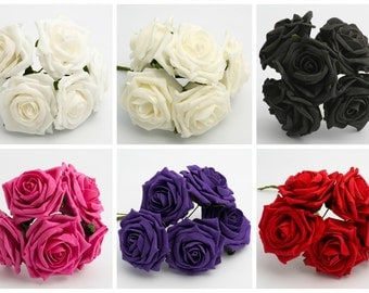 Bunch of 5 - 10cm LARGE Colourfast Foam Artificial Roses Wedding Flower Bouquet
