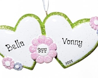 Best Friends BFF hearts Personalized Ornament- Free Gift Bag Included