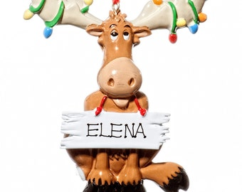 Christmas Moose Personalized Ornament-Comes with Free Gift Bag