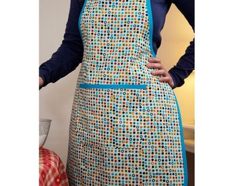 Round ecru cotton kitchen apron multicolor blue links