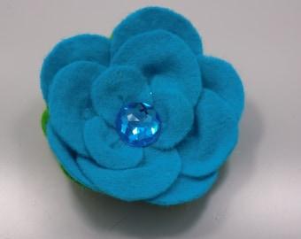 Handmade blue felt flower brooch