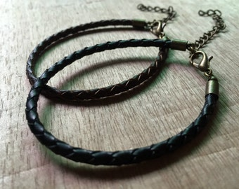 BRONZE END 3.0mm Black & brown genuine braided leather bracelet cords --- length adjustable 7-9inch